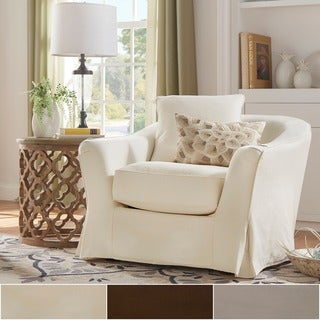 Ellyson Flared English Arm Slipcovered Feather Down Chair by iNSPIRE Q Classic