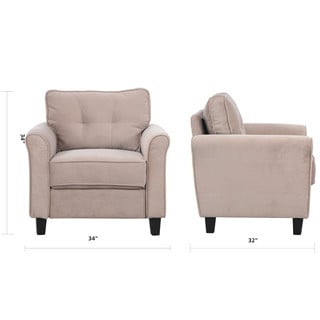 Classic Ultra Comfortable Linen Fabric Living Room Accent Chair