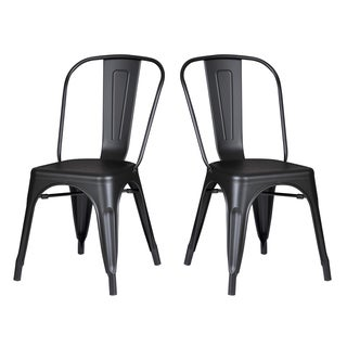 Black Metal Dining/ Kitchen Chair (Set of 2)