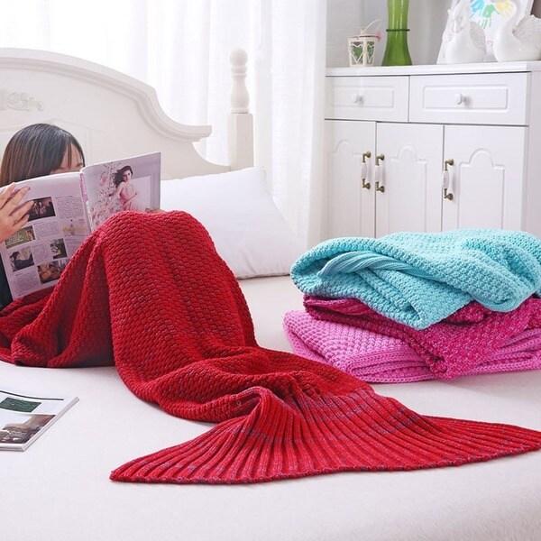 Adult Knit Mermaid Tail Blanket