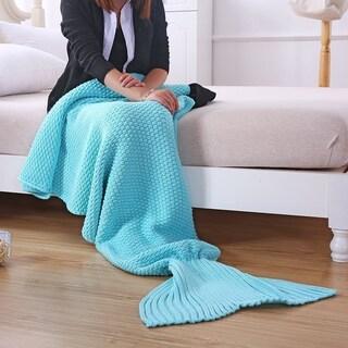 Clay Alder Home Burnside Adult Knit Mermaid Tail Blanket (Option: Blue)