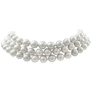 Luxiro Rhodium Finish 8-mm White Faux Pearl 3-Strand Choker Necklace|https://ak1.ostkcdn.com/images/products/13767985/P20421819.jpg?impolicy=medium