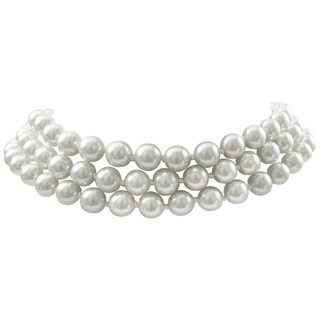 Luxiro Rhodium Finish 8-mm White Faux Pearl 3-Strand Choker Necklace