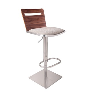 Armless Wooden Back Adjustable Swivel Stainless Steel Barstool