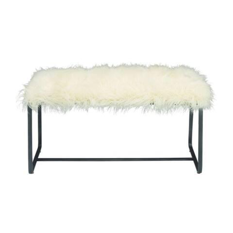 Contemporary Metal White Fur Rectangular Bench by Studio 350