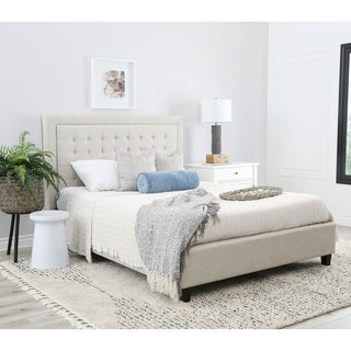 Abbyson Abigail Tufted Upholstery Cream Wood Platform Bed