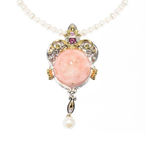Gems en Vogue Palladium Silver Morganite, Rhodolite and Pink Sapphire Pendant with Pearl Strand