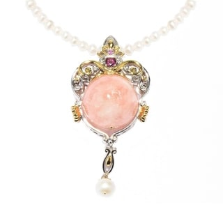 Michael Valitutti Palladium Silver Morganite, Rhodolite and Pink Sapphire Pendant with Pearl Strand