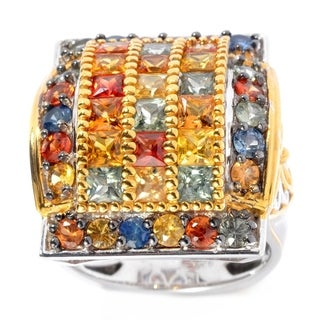 Michael Valitutti Silver Round & Princess Cut Multi Color Sapphire Retangular Ring