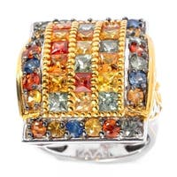Michael Valitutti Silver Round & Princess Cut Multi Color Sapphire Retangular Ring