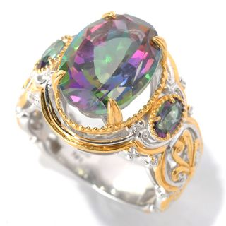 Michael Valitutti Palladium Silver Oval Mystic Topaz Three-Stone Ring