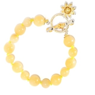 Michael Valitutti Palladium Silver Aragonite Bead, Citrine and Orange Sapphire Flower Charm Toggle Bracelet