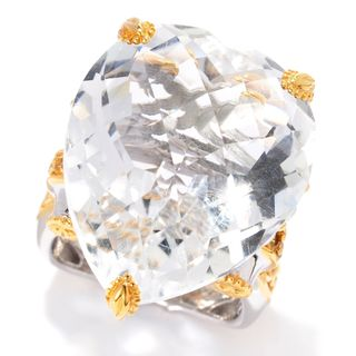 Michael Valitutti Palladium Silver Heart Shaped White Quartz & Yellow Sapphire Ring