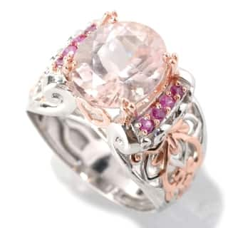 Michael Valitutti Palladium Silver Oval Morganite & Pink Sapphire Ring|https://ak1.ostkcdn.com/images/products/13768100/P20421875.jpg?impolicy=medium