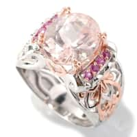 Michael Valitutti Palladium Silver Oval Morganite & Pink Sapphire Ring