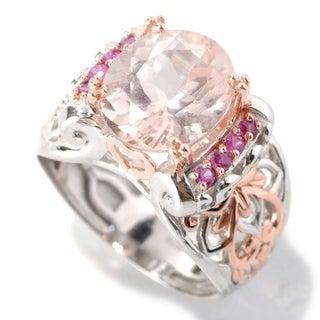 Michael Valitutti Palladium Silver Oval Morganite & Pink Sapphire Ring