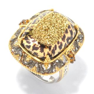 Michael Valitutti Palladium Silver Cushion Window Drusy & Citrine Leopard Print Ring
