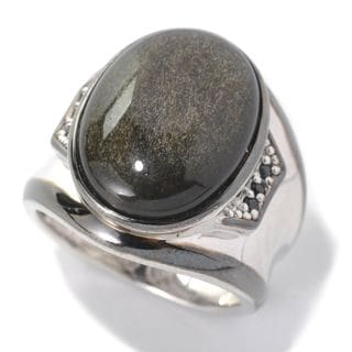 Michael Valitutti Palladium Silver Black Obsidian & Black Spinel Polished Men's Ring