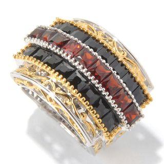 Michael Valitutti Palladium Silver Princess Cut Black Spinel & Garnet Three-Row Ring