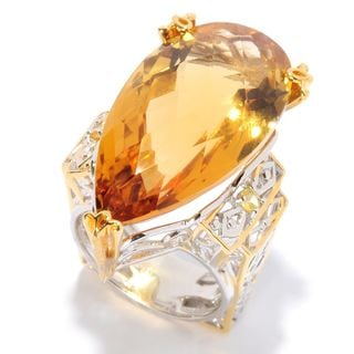 Michael Valitutti Palladium Silver Pear Shaped Zambian Citrine & Yellow Sapphire Ring