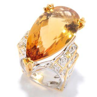 Michael Valitutti Palladium Silver Pear Shaped Zambian Citrine & Yellow Sapphire Ring