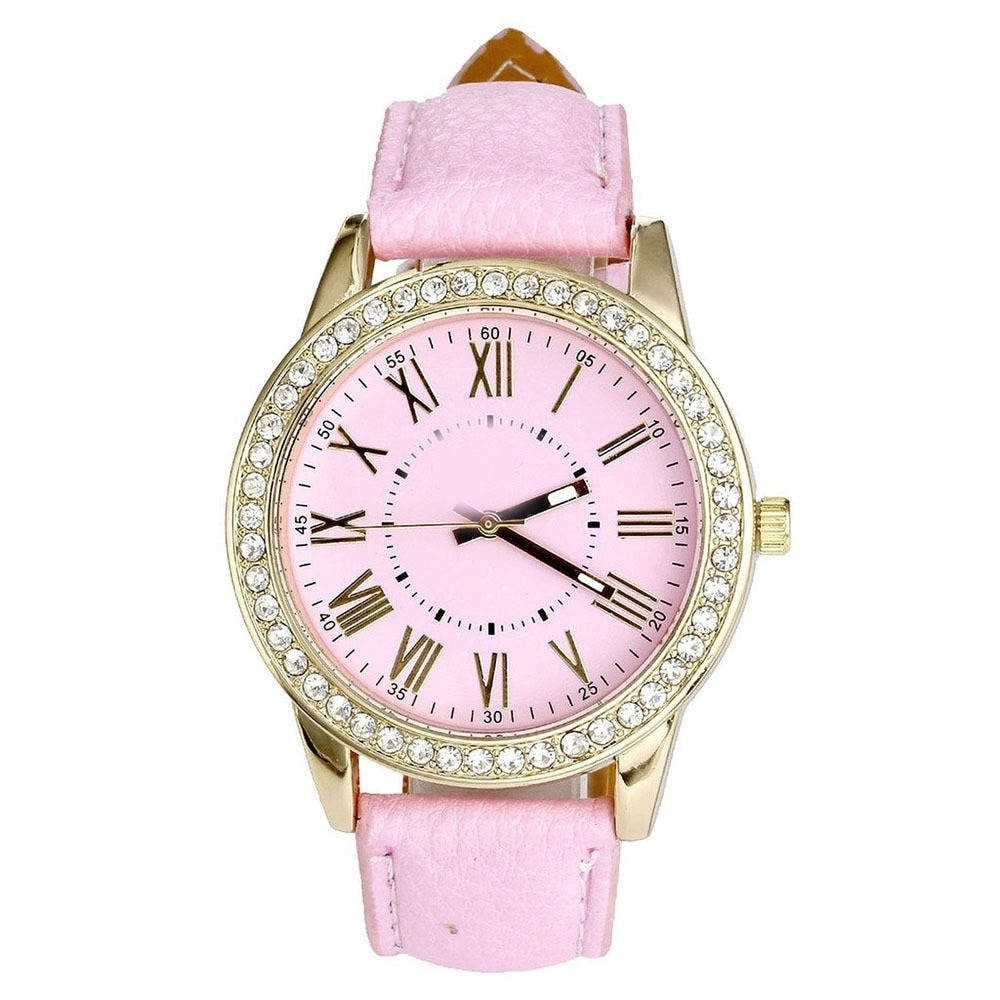 Women's Designer Inspired Watch with Faux Leather Band, R...