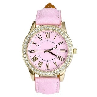 Women's Designer Inspired Watch with Faux Leather Band, Round Case, Roman Numerals, and Crystal Bezel