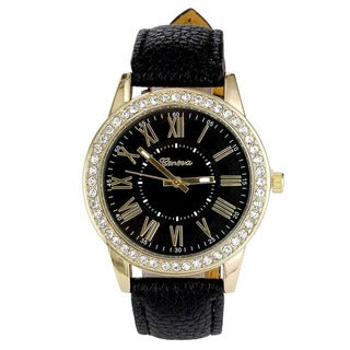 Women's Designer Inspired Faux Leather Band Round Case Roman Numerals Crystal Bezel