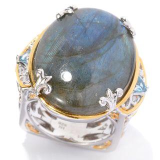 Michael Valitutti Palladium Silver Oval Labradorite & Trillion Swiss Blue Topaz Euro Shank Ring