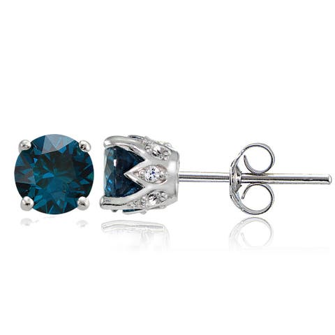 Glitzy Rocks Sterling Silver London Blue and White Topaz Crown Stud Earrings