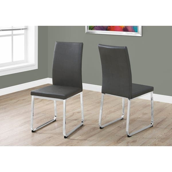 Admirable Shop Grey Chrome Faux Leather Dining Chair Set Of 2 Free Beatyapartments Chair Design Images Beatyapartmentscom