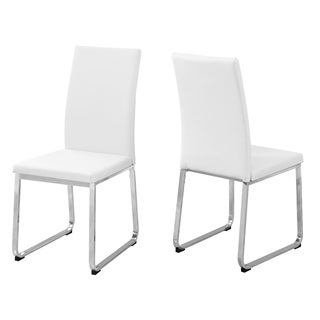 White Leather and Chrome Metal 38-inch High Dining Chairs (Set of 2)