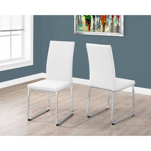 White Leather And Chrome Metal 38 Inch High Dining Chairs (Set Of 2)