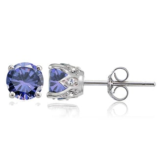 Glitzy Rocks Sterling Silver Tanzanite and White Topaz Crown Stud Earrings