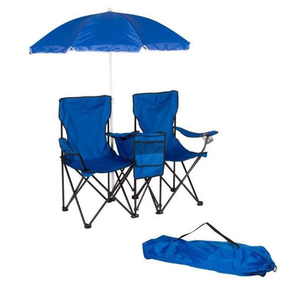 Trademark Innovations Blue Double Folding Camp Chair with Removable Umbrella and Cooler