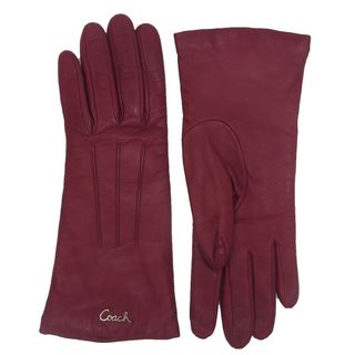 Coach Crimson Red Leather Logo Gloves