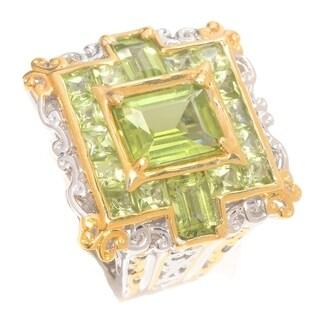 Michael Valitutti Palladium Silver Emerald and Square Peridot Open Scrollwork Square Ring