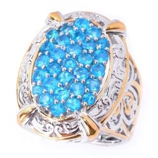 Michael Valitutti Palladium Silver Brazilian Neon Apatite Cluster Ring