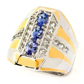 Michael Valitutti Palladium Silver Tanzanite & White Topaz Elongated Band Men's Ring
