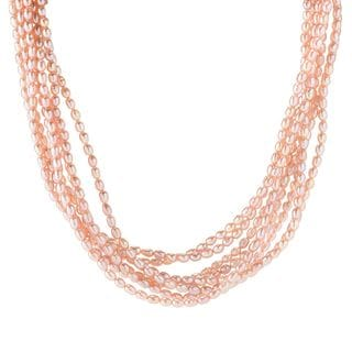 Michael Valitutti Palladium Silver Freshwater Cultured Pearl Multi Strand Necklace with Magnetic Clasp