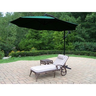 Dakota Cast Aluminum Cushioned Lounge Set with Square Side Table and Green Cantilever Umbrella