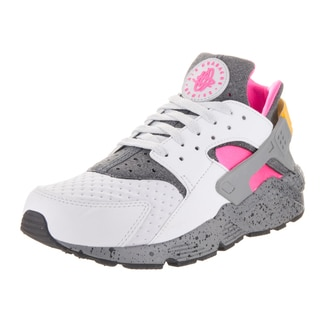 Nike Men's Air Huarache Run SE Pure Platinum and Pink Blast Textile Running Shoe