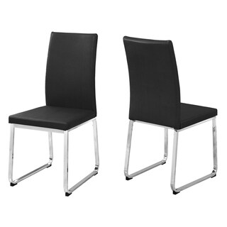Black Faux Leather and Chrome Metal 38-inch Dining Chairs (Set of 2)