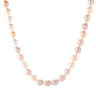 Michael Valitutti Palladium Silver Multi Color Freshwater Cultured Pearl Toggle Necklace