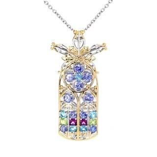 Michael Valitutti Palladium Silver Tanzanite & Multi Gemstone Notre Dame Pendant