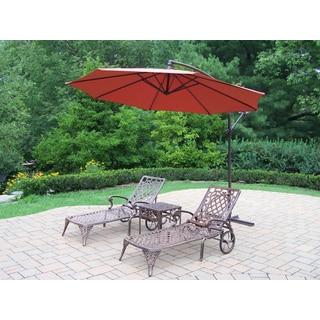 Dakota Orange and Antique Bronze Cast Aluminum Shaded Outdoor Lounge Set