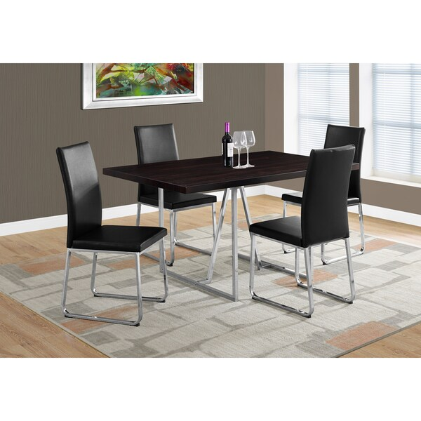 Cuccino Finish Mdf Chrome Metal 36 Inch X 60 Dining Table