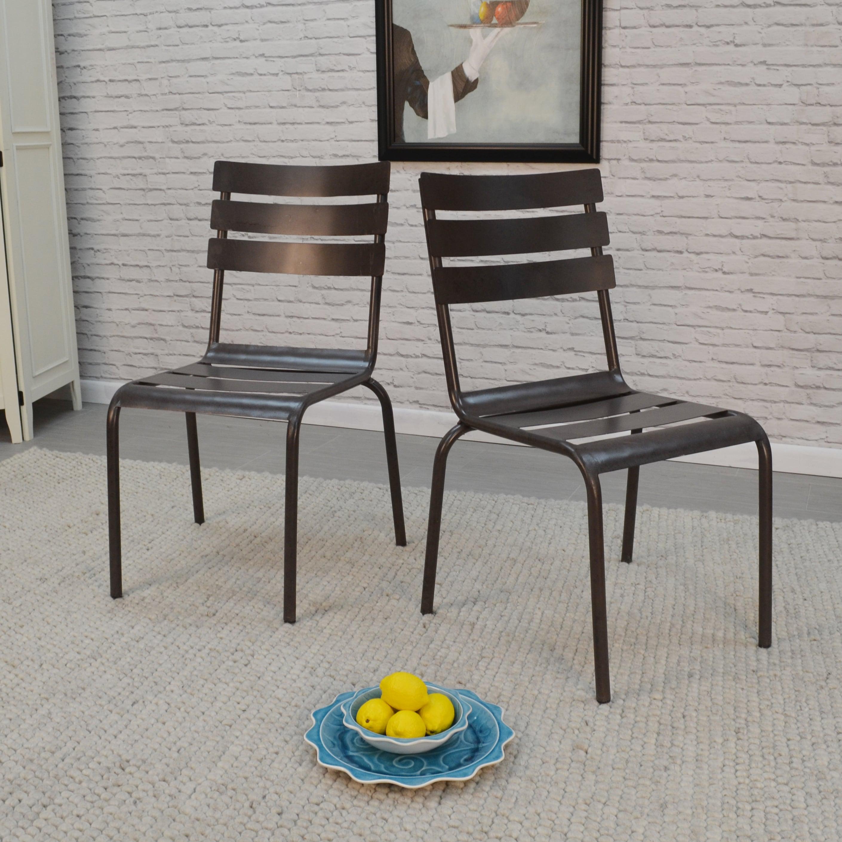 Carolina Rohan Stacking Metal Chairs (Set of 2) (Grey - G...