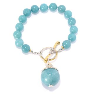 Michael Valitutti Palladium Silver Aquamarine Bead Toggle Bracelet w/ 20mm Drop Charm