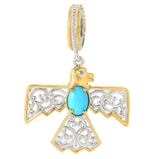 Michael Valitutti Palladium Silver Sleeping Beauty Turquoise Thunderbird Drop Charm